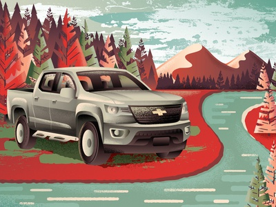 Tuff Truck vector adventure hiking mountain nature trees forest chevy pick up vehicle truck texture illustration
