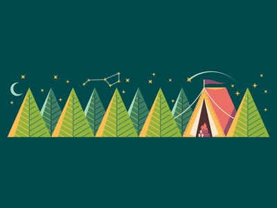 Camping Dribbble outside outdoors campvibes adventure constellation trees woods forest nature tent camp camping illustration