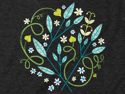 Garden Cluster illustration texture distress garden vines flowers plants ferns