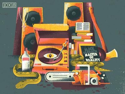 "10x18 Jóhann Jóhannsson ""Mandy OST"" 10x18 evil occult music records speakers vodka snake chainsaw turntable vinyl record vinyl mandy album cover texture illustration"