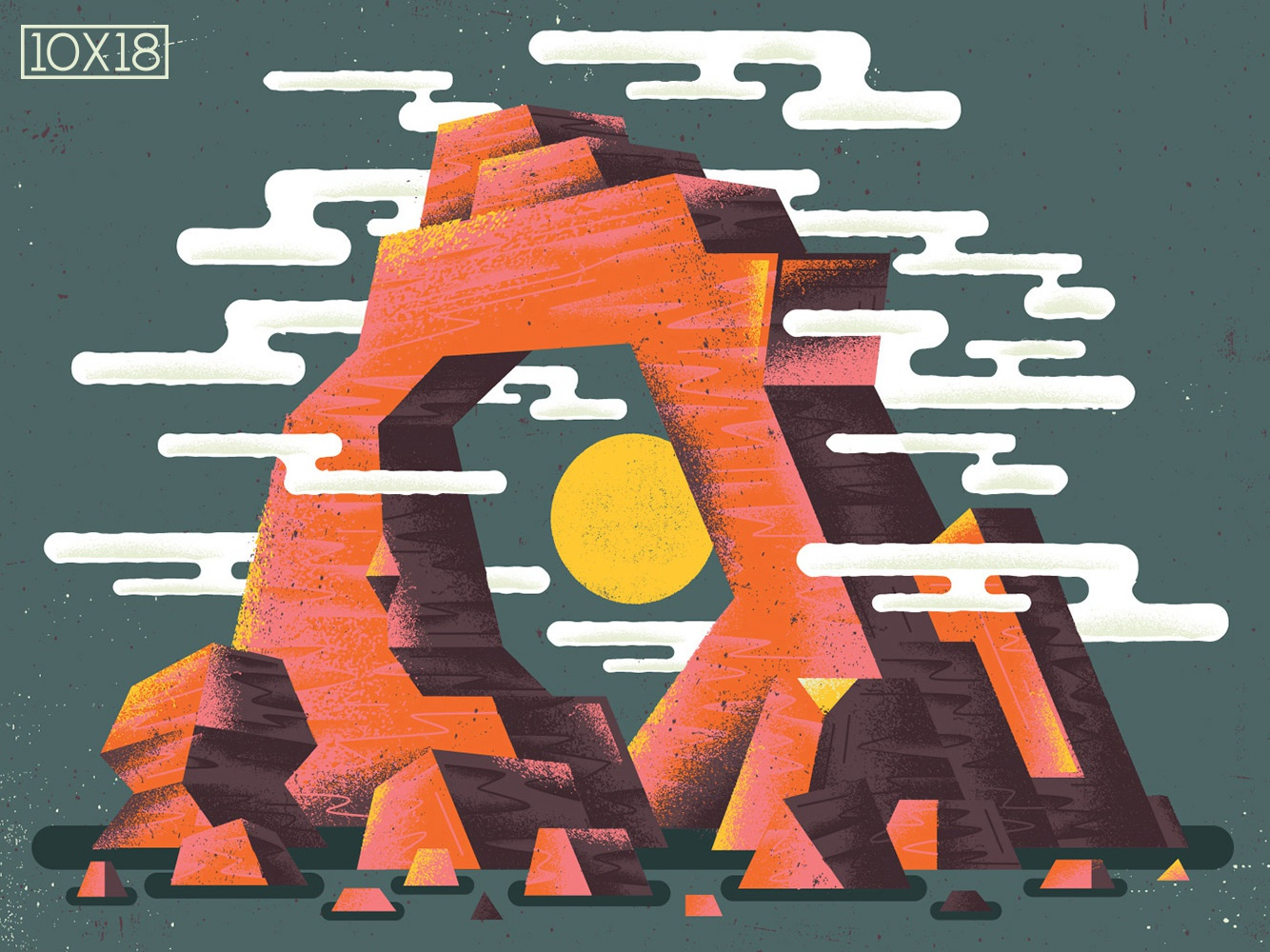 "10x18 Sumac ""Love in Shadow"" 10x18 album cover plateau metal pinnacle desert rock formation geology rock texture illustration"