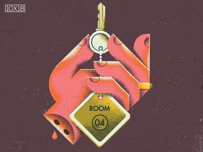 10x18 Daughters 10x18 morbid jewelry ring motel hotel key wrist hand album cover texture illustration