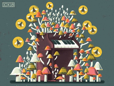 """10x18 Nils Frahm """"All Melody"""" 10x18 mushroom cave ambient instument firefly mushrooms toy piano piano music album cover texture illustration"""