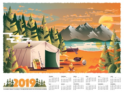 2019 Camp Calendar wilderness tent adventure lake mountains trees camping forest nature texture illustration
