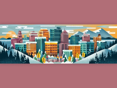 Winter City community portland buildings landscape trees cold holiday winter urban town city illustration