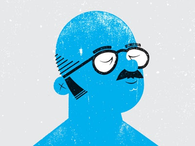 Blue Man illustration texture face glasses blue man tv show