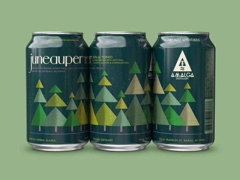 Juneauper Gin Canned Cocktails beverage food nature alaska spruce fir forest trees tree juniper alcohol can packagedesign package