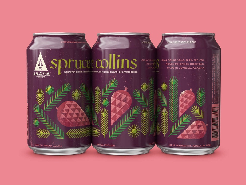 Spruce Collins Canned Cocktail food and beverage food pine pine cone nature tree fir spruce can alcohol packagedesign package