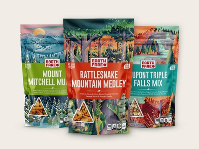 Earth Fare Trail Mix packages food camping hiking plants ferns waterfall trees woods forest outside outdoors nature packaging package design illustration