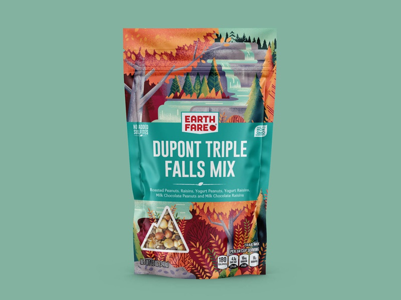 Earth Fare Dupont Triple Falls camping camp hike hiking waterfall ferns trees woods forest outside outdoors nature package design packaging