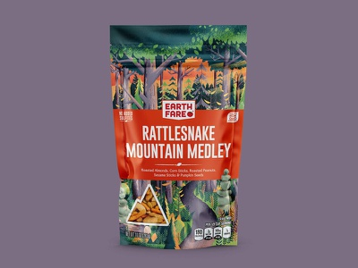 Earth Fare Rattlesnake Mountain sunset camping camp hike hiking trail woods forest trees outside outdoors nature package design packaging