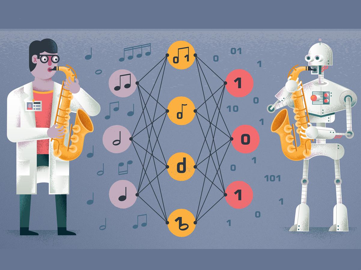 AI Jazz neural network saxophone musician jazz music scientist robots science ai robot texture editorial illustration illustration