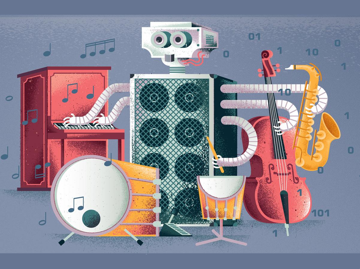 Jazz Robot saxophone bass amplifier drums piano instruments jazz music musician scientist science ai robots robot texture editorial illustration illustration