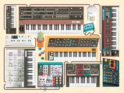 Synth Dungeon cassette piano keyboard moog gear gadget electronic music musical instrument instrument synthesizer synth screenprint poster illustration