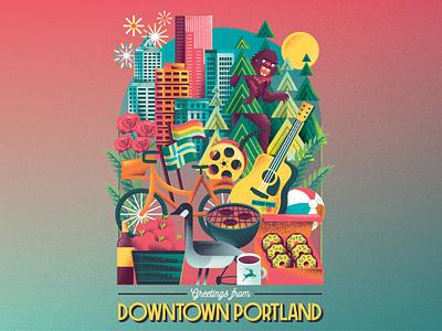Portland Summer flags fruit donuts roses town guitar goose grill bike sasquatch skyline cityscape city portland editorial illustration