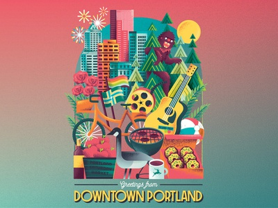 Portland Summer flags fruit donuts roses town guitar goose grill bike sasquatch skyline cityscape city portland editorial illustration