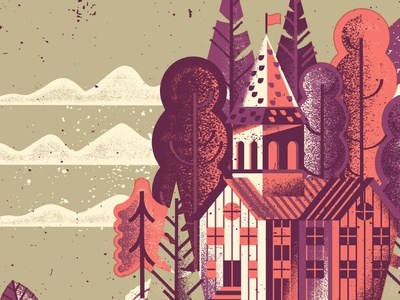 Forest Sanctuary clouds church building nature tree woods forest distress texture screenprint gigposters gigposter illustration