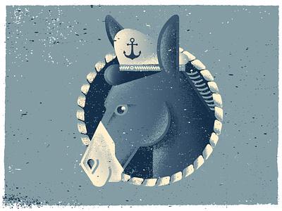 Sea Donkey illustrations nautical alaska sailing ship captain ocean sea animal donkey vector distress texture illustration