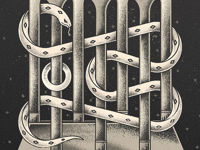 Serpent Illusion album art punk goth animal temple architecture castle illusion optical illusion serpent snake distress texture