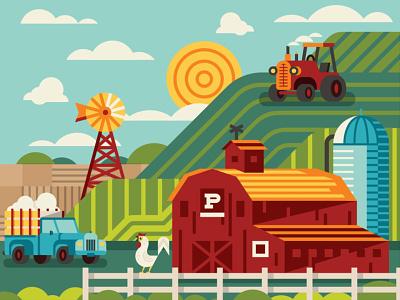 Farm Scene packaging food field crops animal chicken silo barn windmill truck tractor nature farm branding illustration