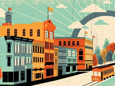 Trey Anastasio Richmond illustration poster city buildings texture distress gigposter trees streetcar flags