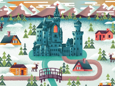 Two Dots Reindeer Realm reindeer snow winter cabin frozen cathedral castle game videogames videogame two dots map texture illustration