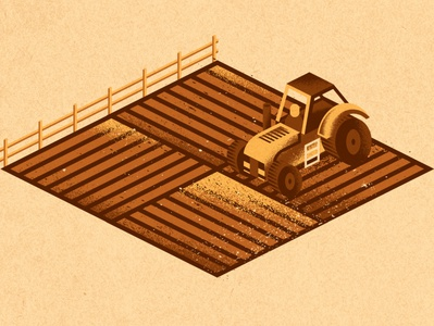 Field vehicle machinery fence agriculture ag tractor field farm editorial illustration illustration