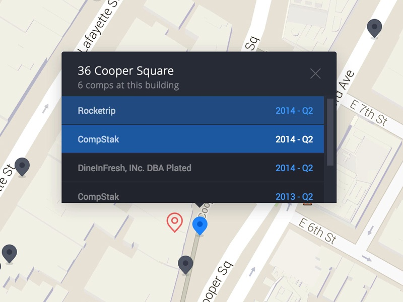 Map pin with records