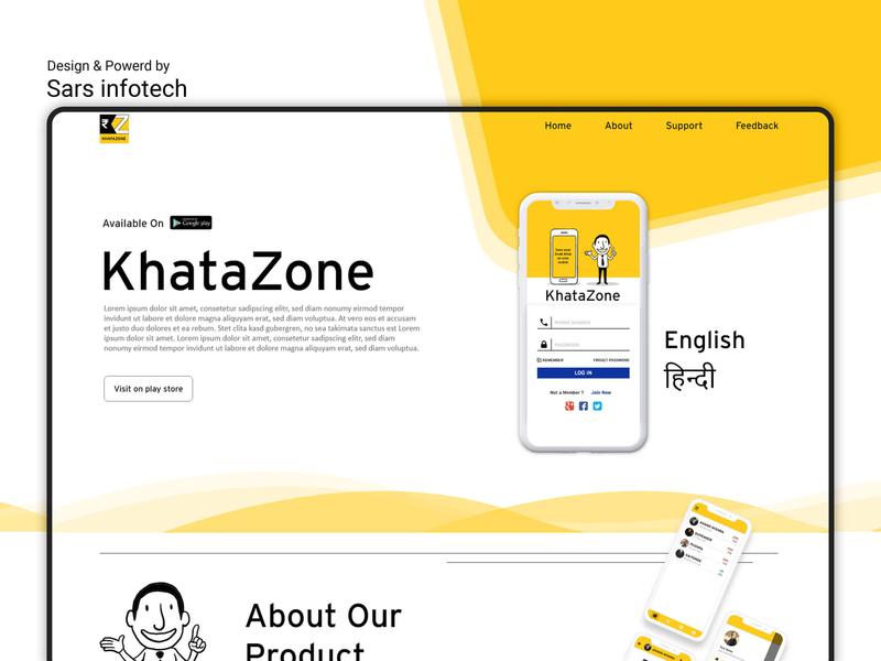 KhataZone Landing Page Design website design digital illustration sars infotech typography branding template design web template design design inspiration app promotion ux ui app landing page design landing page