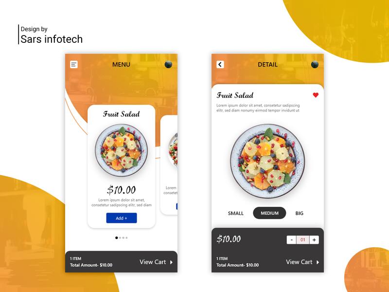 Restaurant Menu App UI app app ui design inspiration illustration sars infotech ux ui template design typography design branding