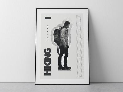 HIKING TIME minimalposter graphic graphicdesigner dailyposter visualart posterdesign travel poster art poster photoshop minimal illustrator designer adventure design black white design blackandwhite