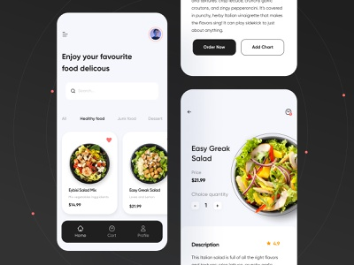 Food Mobile App download free ui kit free freebies food delivery food mobile mobile app food app illustration design dark theme mobile ui clean app design app ui