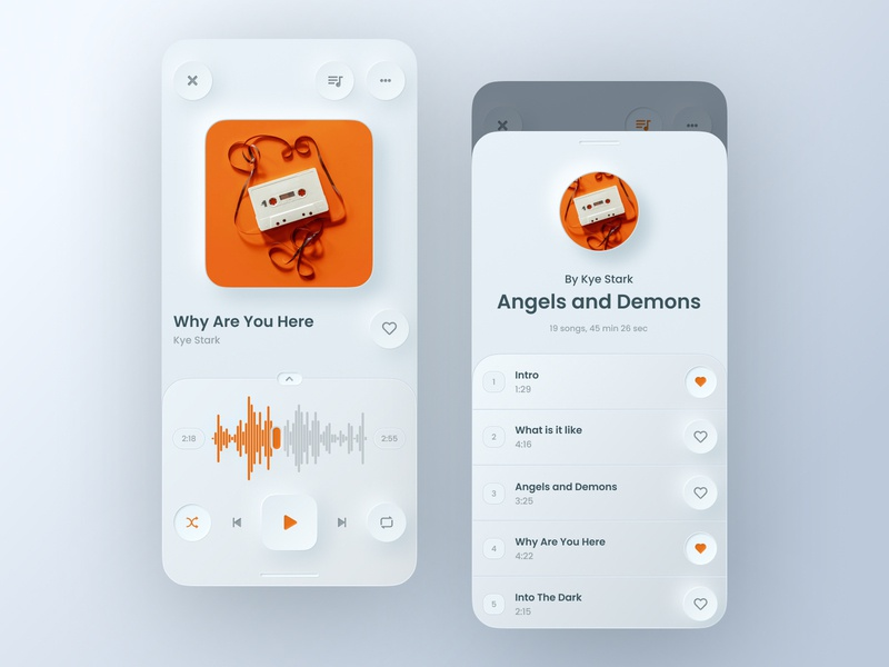 Music Player App Concept ios app music app interface light neomorphic neomorphism music player