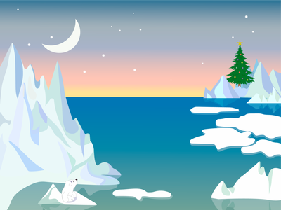 NorthPole christmas card christmas tree illustraion