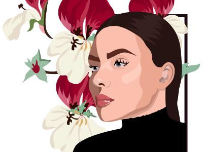 Girl and flowers woman illustraion portrait flower flowers girl