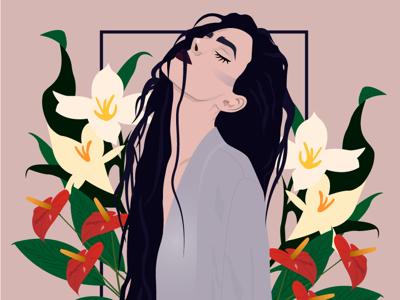 Close your eyes girl flowers illustration women