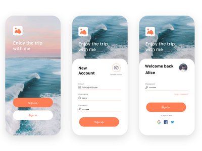 trip-login and registration design app ux ui