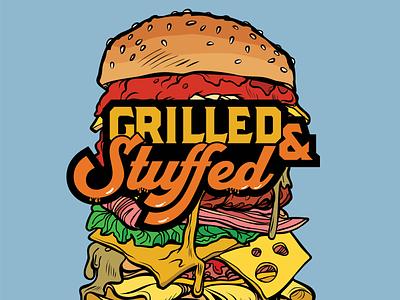 Grilled & Stuffed illustrator type branding logo design vector illustration lettering typography
