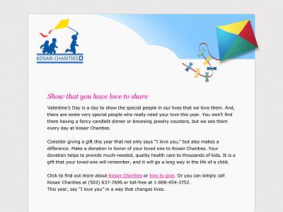 Kosair Charities Email ux ui web development web design minimal branding brand simple design clean