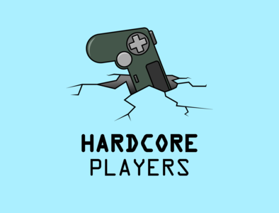 Hardcore Player logo ground controller videogame game player hardcore