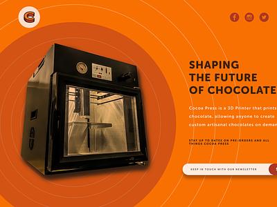 Cocoa Press Landing Site Design 3d printer figma branding landing page design ux ui