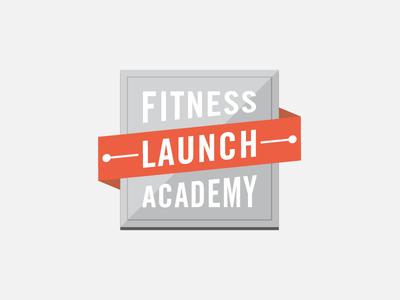 Fitness Launch Academy Badge flat badge branding illustrator logo