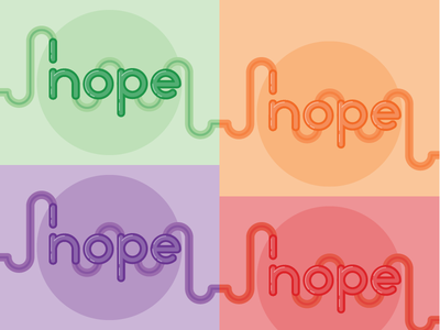 Hope/Nope monochrome flat illustrator lettering typography vector