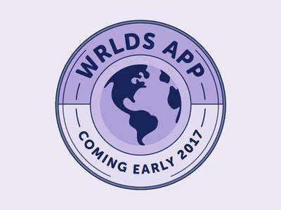 Wrlds App Coming Soon Badge  app tech social media illustration illustrator vector identity brand branding
