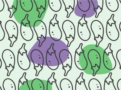 Eggplant Pattern iconography icon line art repeat illustration green purple emoji food vector pattern