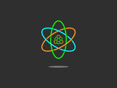 Atom data infographic ui illustration logo science shadow line art icon