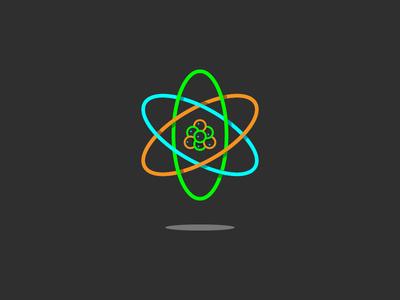 Atom data infographic ui illustration logo science shadow line art icon