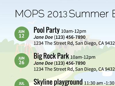 2013 MOPS Summer Events Flyer mops flyer