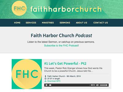 Faith Harbor Church Podcast podcast widget church flat design long shadows website