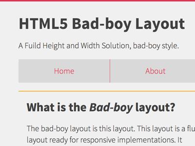 Html bad boy layout